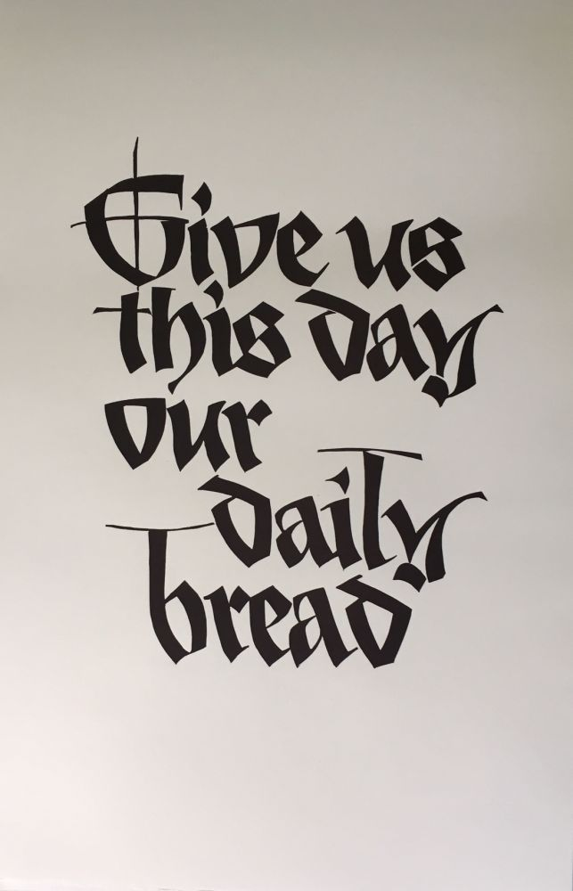 """Give us this day our daily bread"" (Original Linocut). Art, Fritz Eberhardt, calligrapher artist."