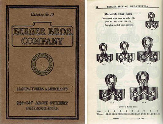 Tinners' and Roofers' Supplies Catalog No. 10. Metal, Berger Brothers Company, trade catalog.