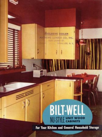 Bilt-Well Nu-Style Unit Wood Cabinets, For Your Kitchen and General Household Storage & Planning Sheet for Cabinets (Laid-in). Millwork, Bilt-Well Wood Work.