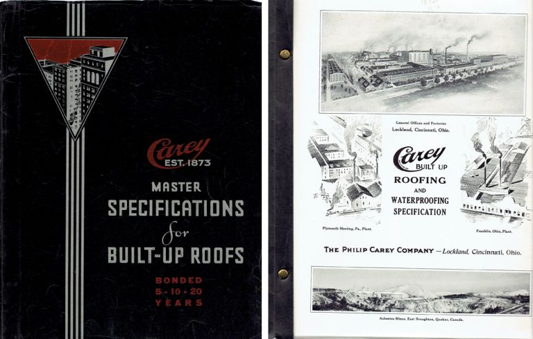 Master Specifications for Built-Up Roofs (Specification No. 1 through No. 12). Roofing, The Philip Carey Company.