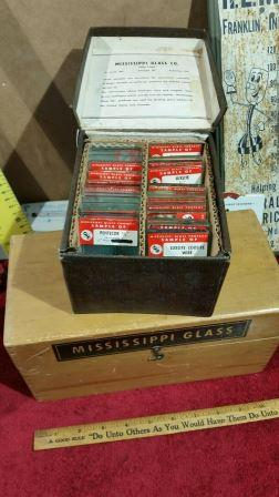 28 Glass Samples in a Solid Wood Case. Glass, Mississippi Glass Company.