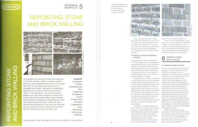 Repointing Stone and Brick Walls; Technical Pamphlet 5. Brick, Society for the Protection of Ancient Buildings.