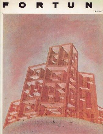 Fortune Magazine, January 1966. Architecture, James A. Linen, President.