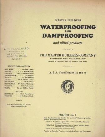 Waterproofing and Dampproofing and Allied Products; A. I. A. Classification 7a and 7b. Building, The Master Builders Company.