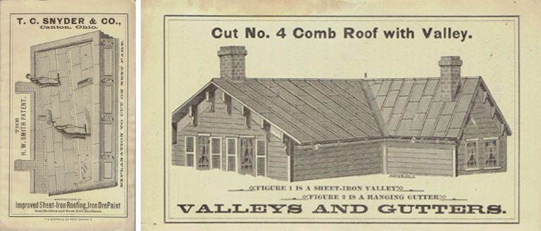 T.C. Snyder & Co. Roofing Trade Catalog; Improved Sheet-Iron Roofing, Iron Ore Paint, Rein Holders and Rock Drill Machines. Roofing, T C. Snyder, Company.