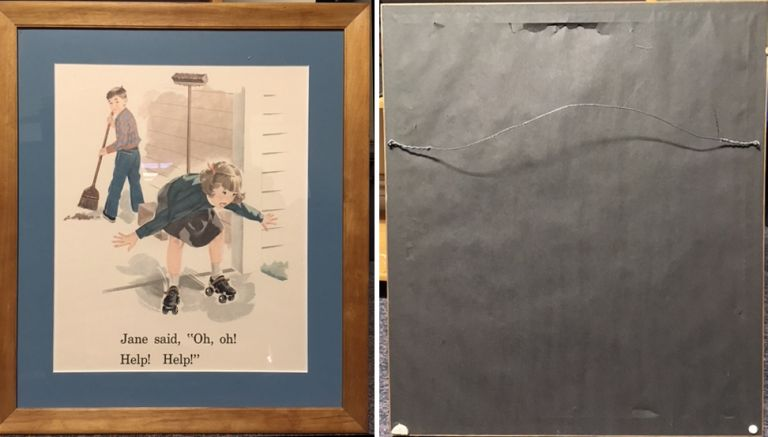"""Framed Illustration from """"Sally, Dick and Jane"""" Children, Richard Wiley."""