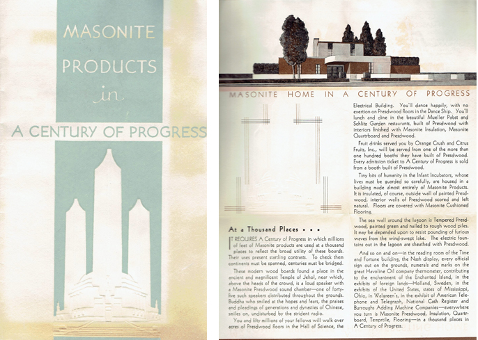 Masonite Products in a Century of Progress. Masonry, Masonite Corporation.