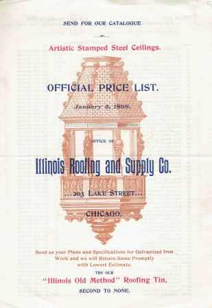 Official Price List. Metal, Illinois Roofing, Supply Co.