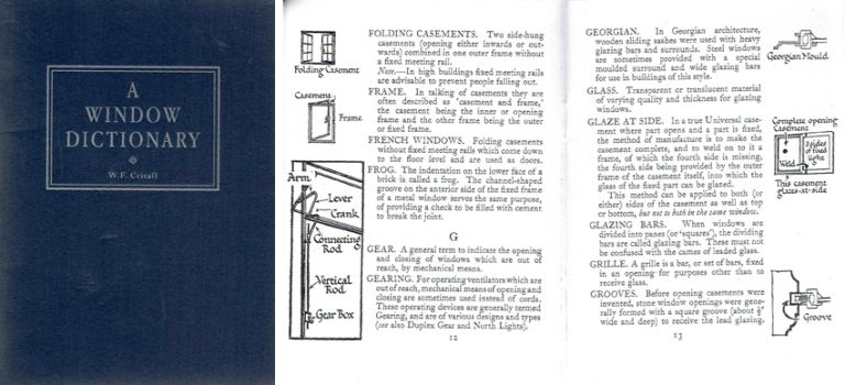 A Window Dictionary; Containing Illustrated Descriptions of Technical Terms used in connection with window openings. Windows, W. F. Crittall.