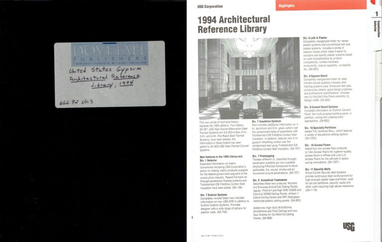 1994 Architectural Reference Library. Gypsum, United States Gypsum Company.