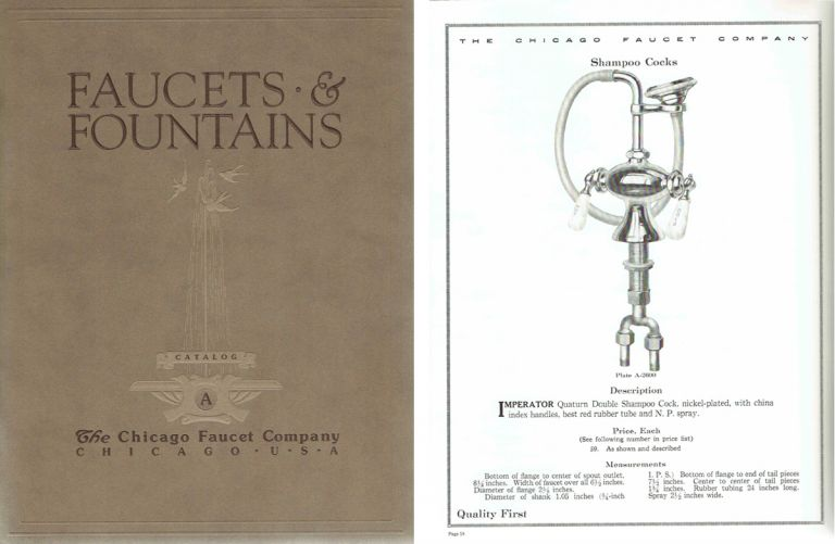 Faucets & Fountains: Catalog A. Plumbing, The Chicago Faucet Company.