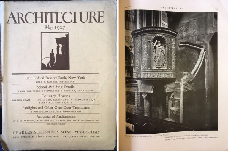 Architecture Magazine, May 1927; Volume LV Number 5. Architecture, Charles Scribner's Sons.