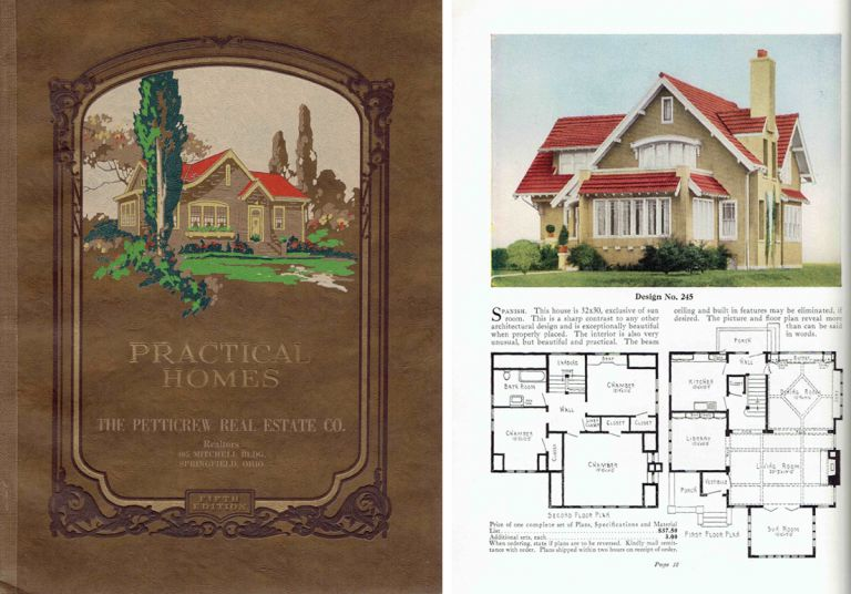 Practical Homes; containing 90 designs of moderately priced houses, each design shown in full color with floor plans / English & Spanish Designs / Square Types & Duplexes / English Colonials / Dutch Colonials / Semi-Bungalows / Bungalows. Pattern Book, The Petticrew Real Estate Company.