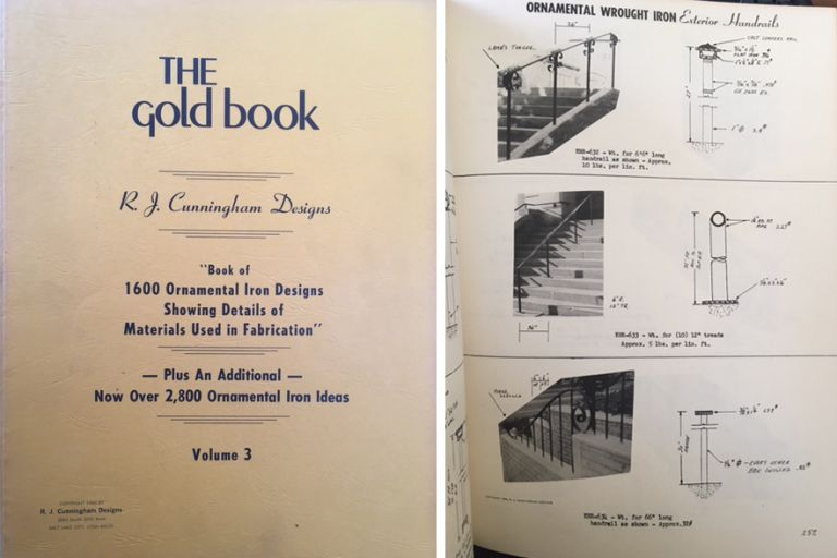 The Gold Book, vol. 3; Book of 1600 Ornamental Iron Designs Showing Details of Materials Used in Fabrication -- Plus An Additional Now Over 2,800 Ornamental Iron Ideas. Metal, R J. Cunningham Designs.
