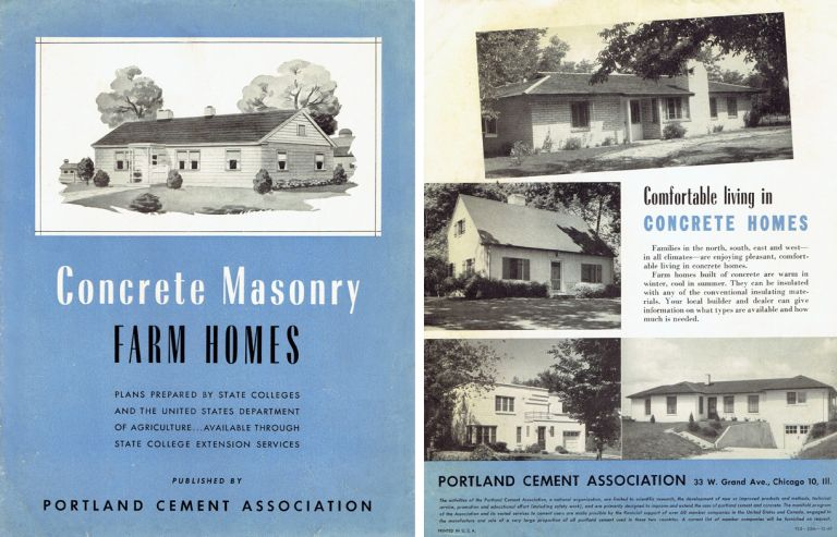 Concrete Masonry Farm Homes; Plans Prepared by State Colleges and the United States Department of Agriculture ... Available Through State College Extension Services. Pattern Book, Portland Cement Association.