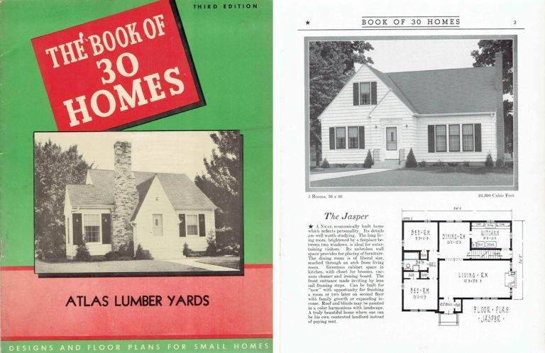 Book of 30 Homes; Designs and Floor Plans for Thirty Small Homes. Pattern Book, Inc Brown-Blodgett.