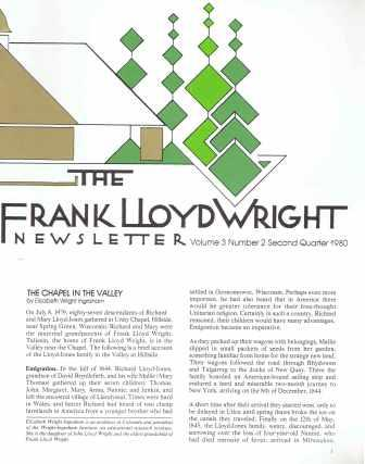 """The Frank Lloyd Wright Newsletter Vol 2 - Vol 5, complete, including the elusive """"Oak Park River Forest Park"""" map. Wright, Thomas Heinz."""