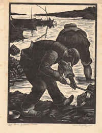 Mussel Gatherers, Toulon. Illustrated, Clare Leighton