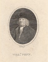 Portrait of William Penn (Full bust, slightly to left, in wide-brimmed hat and white kerchief. )...