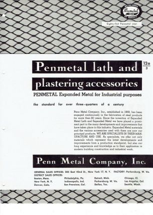 Penmetal lath and plastering accessories; Expanded Metal for Industrial purposes. Metal, Penn...