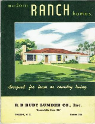 Modern Ranch Homes ~ designed for town or country living. Pattern Book, Inc National Plan Service