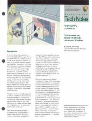 Maintenance and Repair of Historic Aluminum Windows (Preservation Tech Notes, Windows Number 22)....