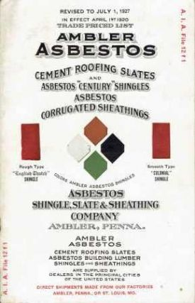 Ambler Asbestos Price List; Made by Asbestos Shingle, Slate And Sheathing Company; A. I. A. File...