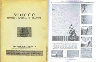 Stucco Interior Plastering - Graffito; A. I. A. File No. 21-D-1. Plaster, Universal Atlas Cement...